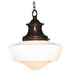Antique Edwardian Opaline Glass and Decorative Copper Gallery Pendant Light