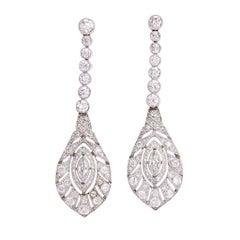 """Antique Edwardian """"Peacock Feathers"""" Diamond Drop Earrings"""