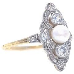 Antique Edwardian Pearl Diamond 14 Karat Gold Navette Ring