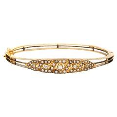 Antique Edwardian Pearl Diamond Bracelet 14k Yellow Gold Bangle Vintage Jewelry