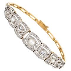 Antique Edwardian Pearl Diamond Bracelet Vintage Platinum 18 Karat Gold Fine