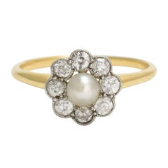 Antique Edwardian Pearl Diamond Flower Cluster Ring