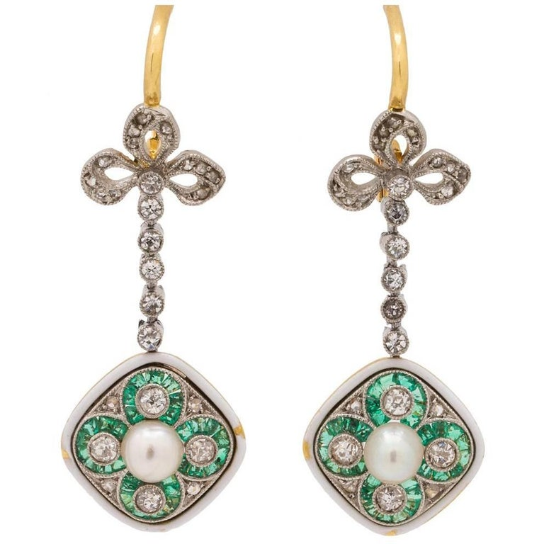 Antique Edwardian Pearl Emerald Diamond Platinum Gold Dangle Earrings