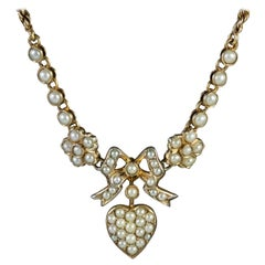 Antique Edwardian Pearl Heart Necklace Silver 15 Carat Gold, circa 1910