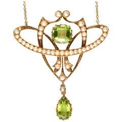 Antique, Edwardian, Peridot and Seed Pearl Art Nouveau Pendant in Original Box