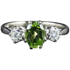 Antique Edwardian Peridot Diamond Trilogy Ring 18 Carat White Gold