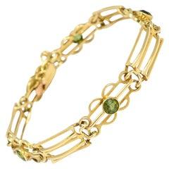 Antique Edwardian Peridot Gate-Link Bracelet