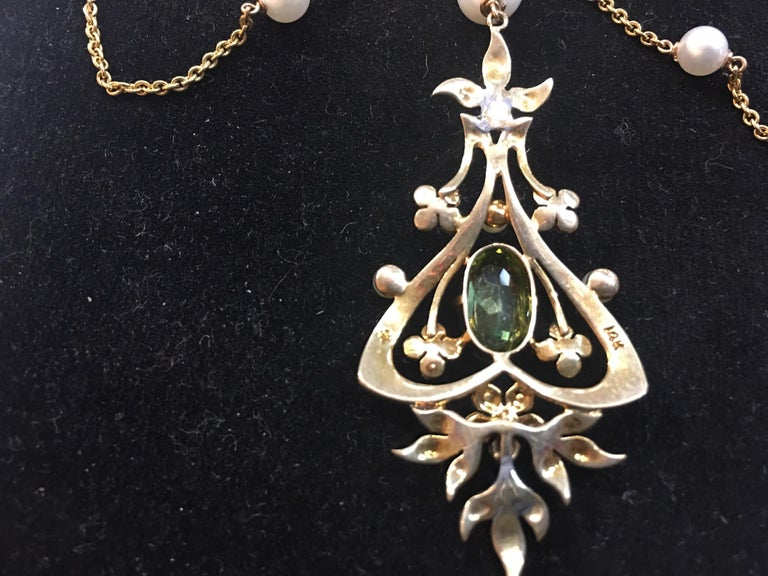 146523d67dfdf Antique Edwardian Peridot Pearl Gold Swag Necklace