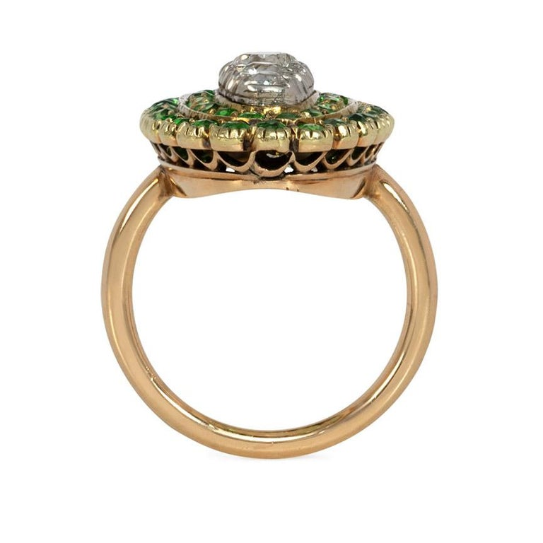 Old European Cut Antique Edwardian Period Demantoid Garnet and Diamond Ring in Gold and Platinum For Sale