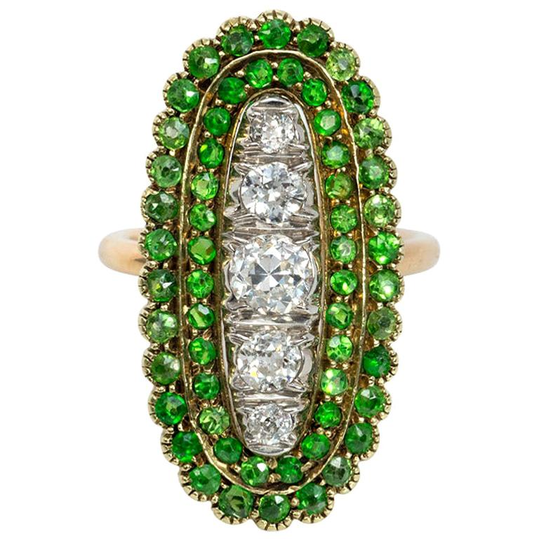 Antique Edwardian Period Demantoid Garnet and Diamond Ring in Gold and Platinum For Sale