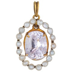 Antique Edwardian Pink Sapphire Seed Pearl Pendant 14 Karat Gold Small Oval