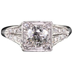 Antique Edwardian Platinum 0.80 Carat Old European Cut Diamond Ring, GIA