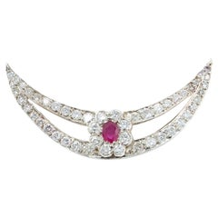 Antique Edwardian Platinum and Gold Burma Ruby and Diamonds Brooch