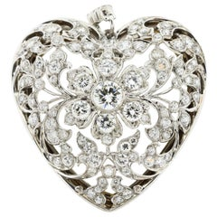 Antique Edwardian Platinum and Gold Diamond Heart Pendant with Original Crystal