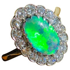 Antique, Edwardian, Platinum Black Opal and Diamond Cluster Ring