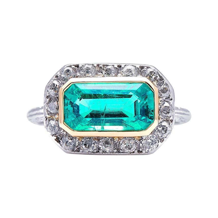 Antique, Edwardian, Platinum, Colombian Emerald and Diamond Ring