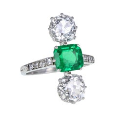 Antique Edwardian Platinum Colombian Emerald Diamond Three-Stone Cocktail Ring