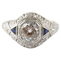 Antique Platinum Diamond and Sapphire Dome Ring