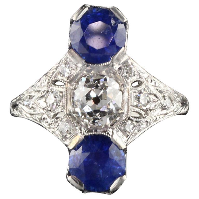 Antique Edwardian Platinum Diamond and Sapphire Shield Ring