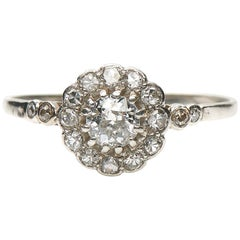Antique, Edwardian, Platinum, Diamond Cluster Engagement Ring