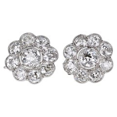 Antique Edwardian Platinum Diamond Daisy Cluster Earrings