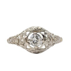 Antique Edwardian Platinum Diamond Engagement Ring
