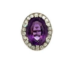 Antique Edwardian Platinum Diamond Oval Amethyst Ring