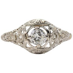 Antique Edwardian Platinum Diamonds Engagement Ring
