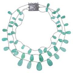 Antique Edwardian Platinum Emerald Diamond Pearl Necklace
