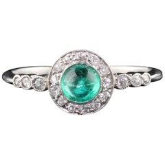 Antique Edwardian Platinum French Emerald and Diamond Engagement Ring