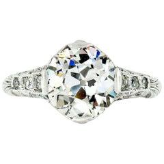Antique Edwardian Platinum GIA European 2.39 Carat Diamond Solitaire Ring