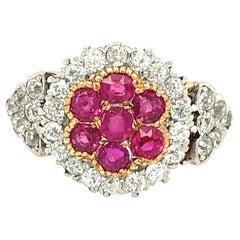 Antique Edwardian Platinum Gold Ruby Diamond Cluster Ring