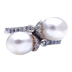 Antique, Edwardian, Platinum, Natural Pearl and Diamond Ring