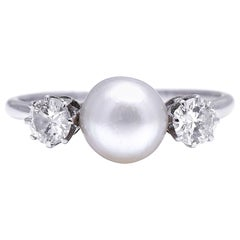 Antique, Edwardian, Platinum, Natural Pearl and Diamond Three-Stone Ring
