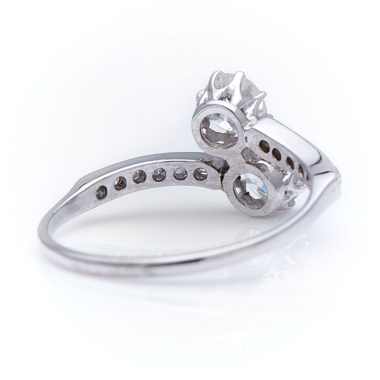 Old European Cut Antique Edwardian, Platinum, Old-Cut Diamond 'Toi et Moi' Engagement Ring For Sale
