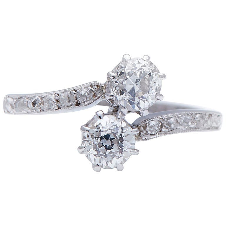 Antique Edwardian, Platinum, Old-Cut Diamond 'Toi et Moi' Engagement Ring For Sale