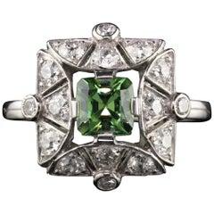 Antique Edwardian Platinum Russian Demantoid Garnet and Diamond Cocktail Ring