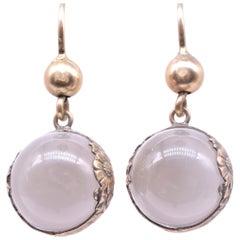Antique Edwardian Pools of Light Silver Gilt Rock Crystal Earrings