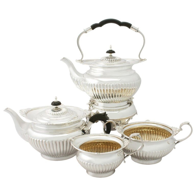 Antique Edwardian Queen Anne Style Sterling Silver Four-Piece Tea Service For Sale