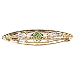 Antique Edwardian Reticulated Krementz 14 Karat Gold & Green Amethyst Brooch Pin