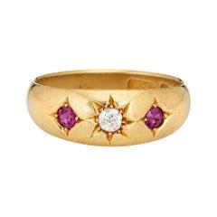 Antique Edwardian Ring c1912 Diamond Ruby Gypsy Band 18k Gold Jewelry