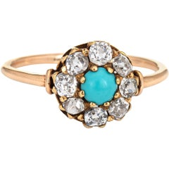 Edwardian Ring Old Mine Cut Diamond Turquoise Vintage 14 Karat Yellow Gold