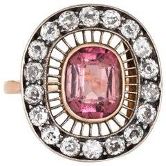 Antique Edwardian Ring Pink Tourmaline Diamond Oval Cocktail 14K Gold Vintage
