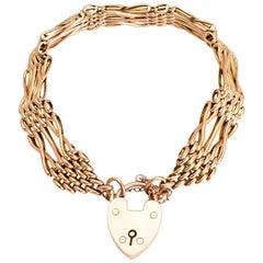 Antique Edwardian Rose Gold Gate-Link Bracelet