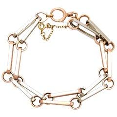 Antique Edwardian Rose Gold Platinum Trombone Link Bracelet