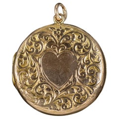 Antique Edwardian Round 9 Carat Gold Heart Locket Dated 1908