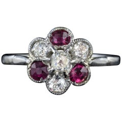 Antique Edwardian Ruby Diamond Cluster Ring Platinum, circa 1915