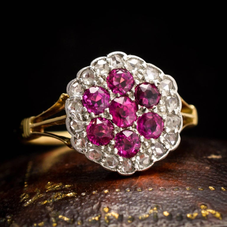 Antique Edwardian Ruby Diamond Flower Cluster Ring For Sale 3