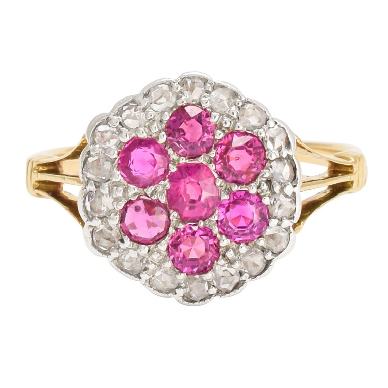 Antique Edwardian Ruby Diamond Flower Cluster Ring For Sale