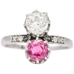 "Antique Edwardian Ruby Diamond ""Toi Et Moi"" Engagement Ring"